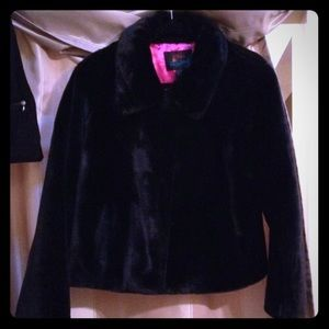 Jackets & Blazers - NWOT: Black Faux Fur Jacket. Pink Lining w pockets